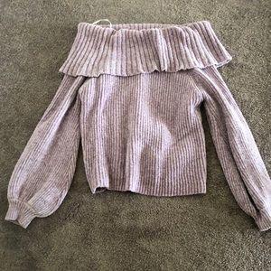 Soft Light Purple Off Shoulder Sweater